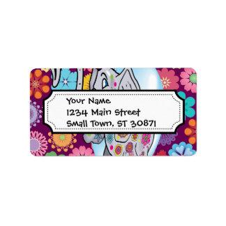 Elefante lindo del Hippie con las flores coloridas Etiqueta De Dirección