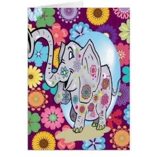 Elefante lindo del Hippie con las flores coloridas Tarjeton
