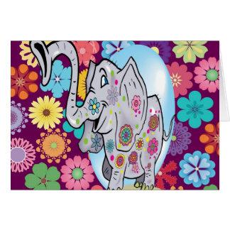 Elefante lindo del Hippie con las flores coloridas Tarjeta Pequeña