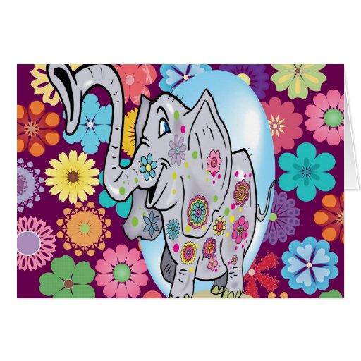 Elefante lindo del Hippie con las flores coloridas Felicitacion