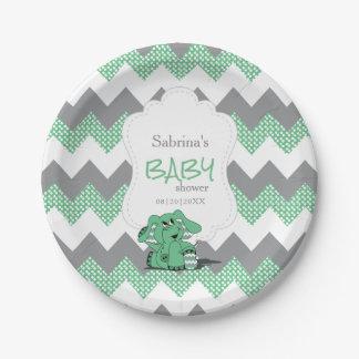 Elefante lindo tonto verde divertido del bebé de plato de papel
