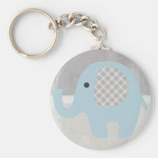 Elefante magnífico del bebé en azul llavero redondo tipo chapa