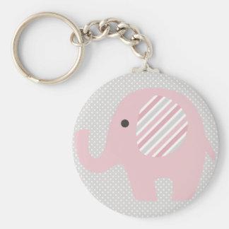 Elefante magnífico del bebé en rosa llavero redondo tipo chapa