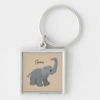 elefante marrón de la fiesta de bienvenida al bebé llavero cuadrado plateado