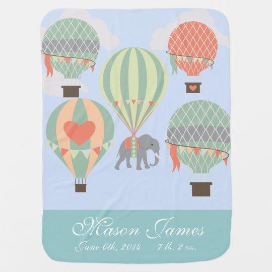 Elefante personalizado del globo del aire caliente mantas de bebé