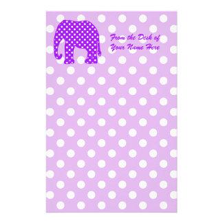 Elefante púrpura y blanco de los lunares papelería