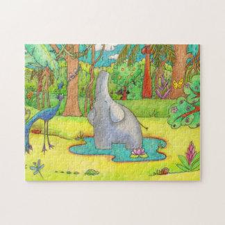 Elefante que canta en el rompecabezas del dibujo
