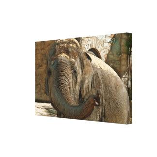 Elefante que señala adelante con el tronco lienzo