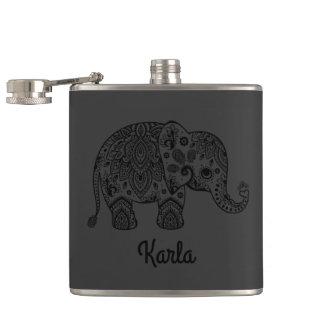 Elefante retro negro monocromático de Paisley Petaca