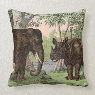 Elefante reversible de Vinatge/rinoceronte/mono Cojín Decorativo