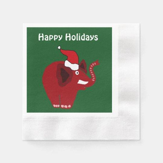 Elefante rojo divertido del navidad servilletas desechables