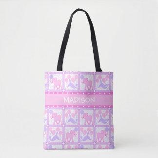 Elefante rosado de la niña del circo el | para la bolso de tela