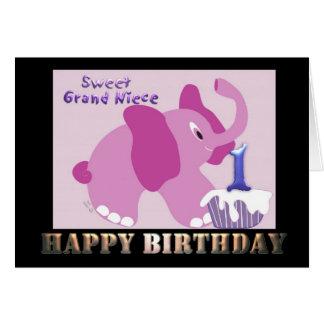 Elefante rosado de la primera sobrina magnífica tarjeta de felicitación