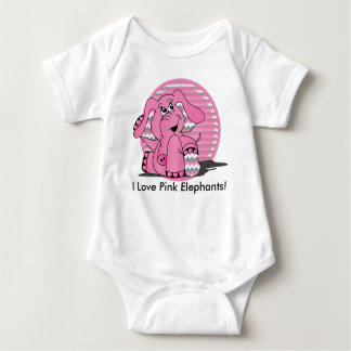 Elefante rosado divertido Chevron Body Para Bebé