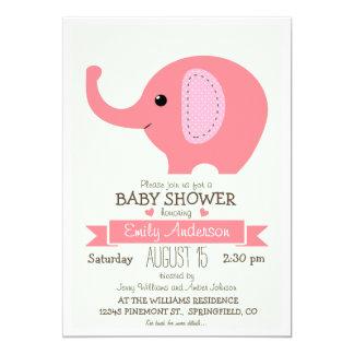Elefante rosado lindo, fiesta de bienvenida al invitación 12,7 x 17,8 cm