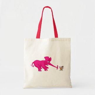 Elefante rosado y el gato fuerte del circo bolsa tela barata
