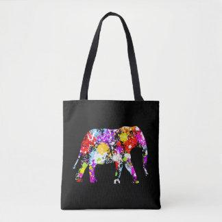 Elefante salpicado color por todo la bolsa de asas