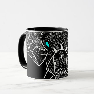 Elefante serio - ennegrezca la taza combinada de