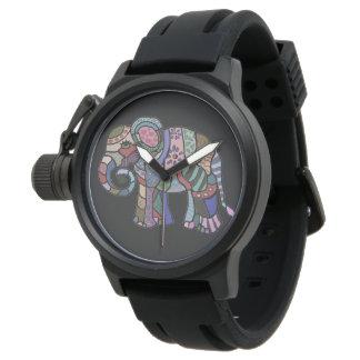 Elefante tribal del arte popular del estilo reloj de pulsera