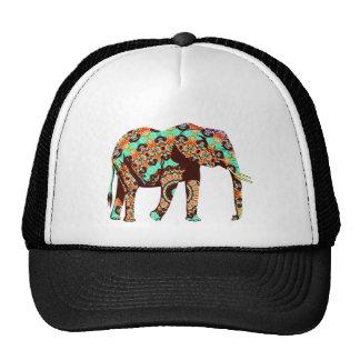 Elefante tribal e ilustraciones de la acuarela de gorros bordados