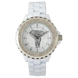 Elefante tribal negro y blanco bohemio reloj de pulsera