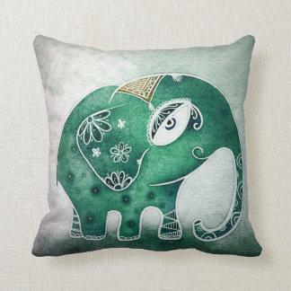 Elefante verde cojín decorativo