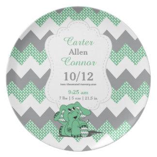 Elefante verde de Chevron - información del Plato