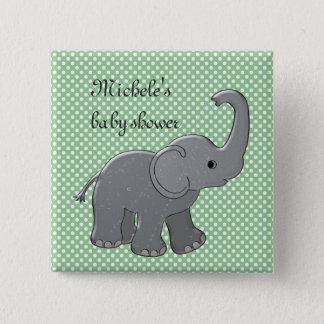 elefante verde de la fiesta de bienvenida al bebé chapa cuadrada