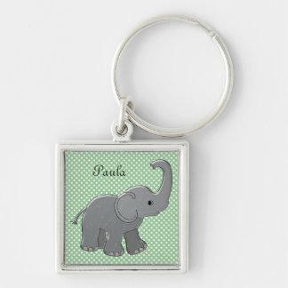 elefante verde de la fiesta de bienvenida al bebé llavero cuadrado plateado