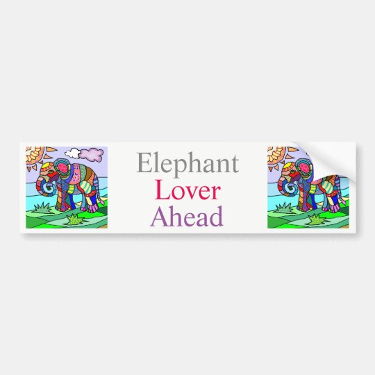 Elefante vibrante colorido de la flor del extracto pegatina para coche