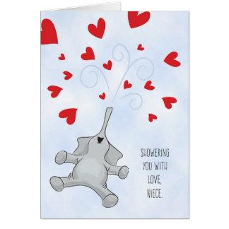 Elefante y corazones del el día de San Valentín de Tarjeta De Felicitación