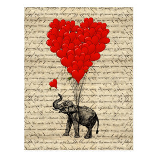 Elefante y globos en forma de corazón