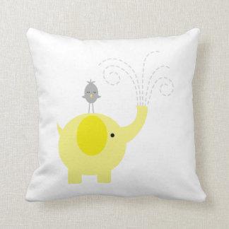Elefante y pájaro amarillos y grises cojín decorativo