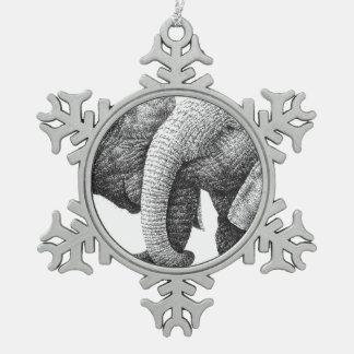 Elefantes africanos adorno de peltre en forma de copo de nieve