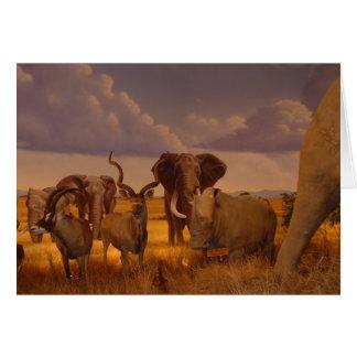 Elefantes africanos y tarjeta de felicitación