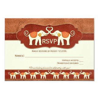 Elefantes blancos de cobre de Brown que casan la Invitación 8,9 X 12,7 Cm