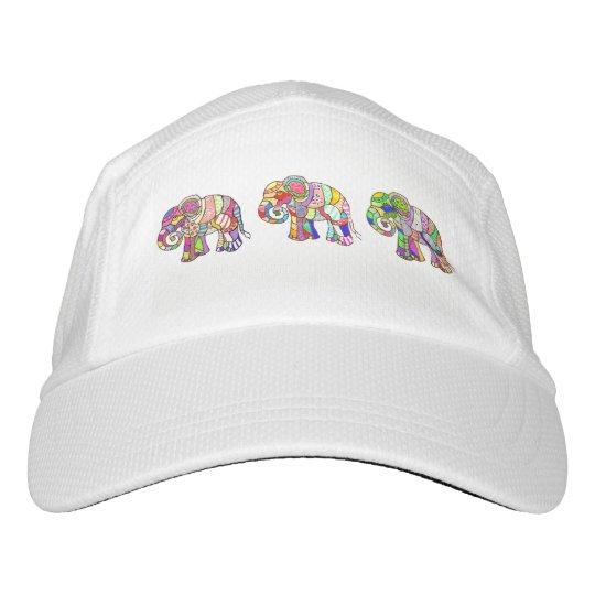 Elefantes coloridos psychodelic ornamentales gorra de alto rendimiento