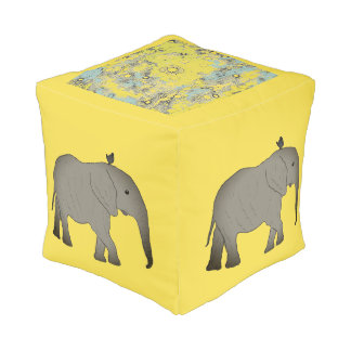Elefantes cuadrados África del taburete Pouf