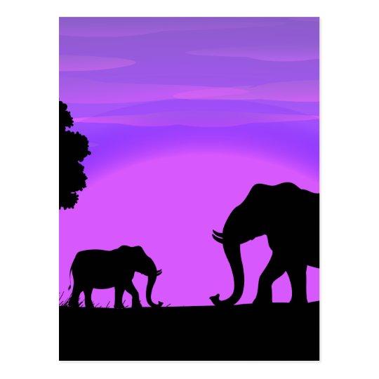 Elefantes de la silueta postal