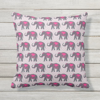 Elefantes de rosas fuertes grises bonitos en cojín decorativo