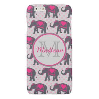 Elefantes de rosas fuertes grises en los lunares