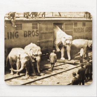 Elefantes del circo del vintage que descargan del alfombrilla de ratón