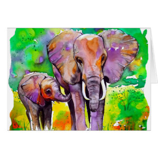Elefantes del safari tarjetas