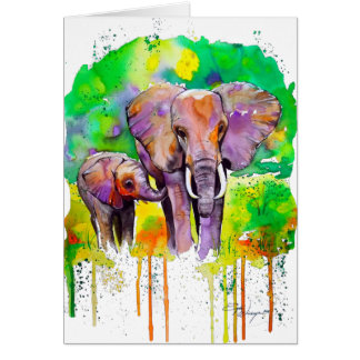 Elefantes del safari tarjeta de felicitación
