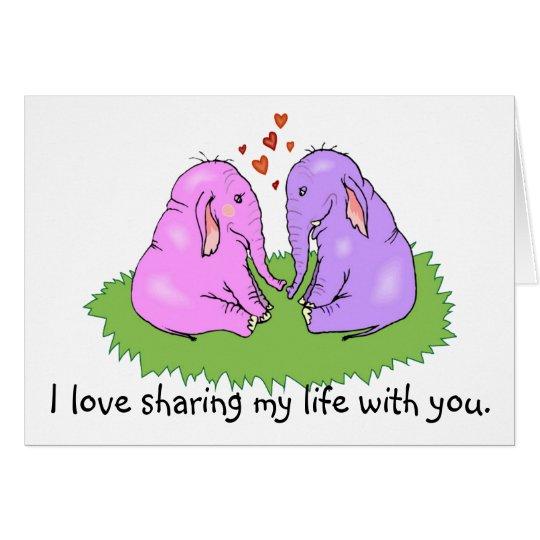 Elefantes en tarjeta del amor