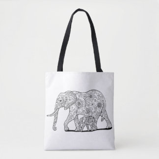 Elefantes florales bolso de tela