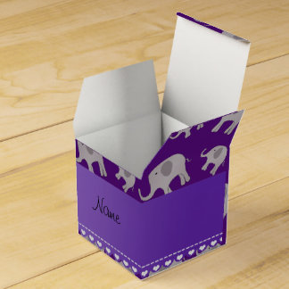 Elefantes grises púrpuras conocidos personalizados caja de regalos