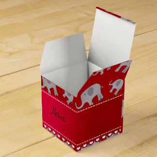 Elefantes grises rojos conocidos personalizados caja de regalos