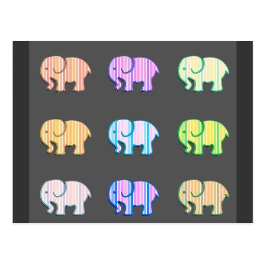 Elefantes lindos femeninos modernos de moda postal