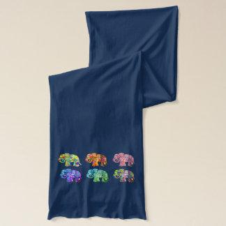 Elefantes psicodélicos ornamentales del color del bufanda